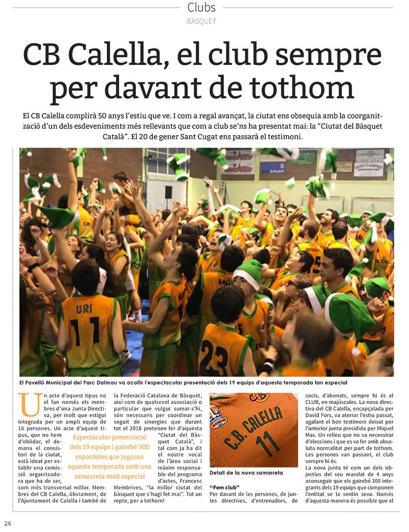 """""""CB Calella, el club sempre per davant de tothom"""", pàgina 1 de l'article a """"L'Esportiu Maresme"""""""