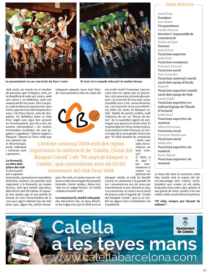 """""""CB Calella, el club sempre per davant de tothom"""", pàgina 2 de l'article a """"L'Esportiu Maresme"""""""
