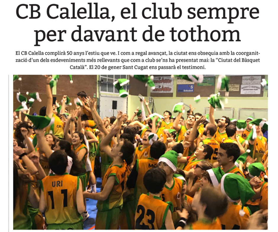"""Capçalera de l'article del CB Calella a """"Esportiu Maresme"""""""