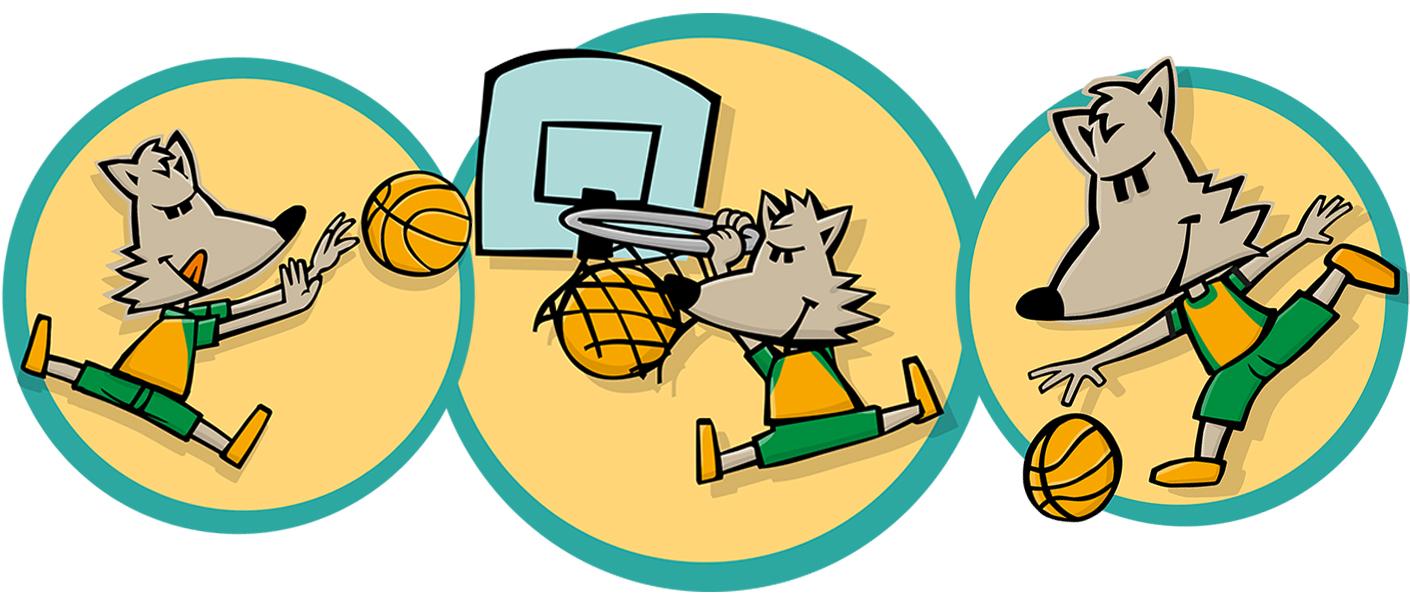 En Wolfy, la mascota del CB Calella. El nou disseny de l'il·lustrador Xavier Càliz