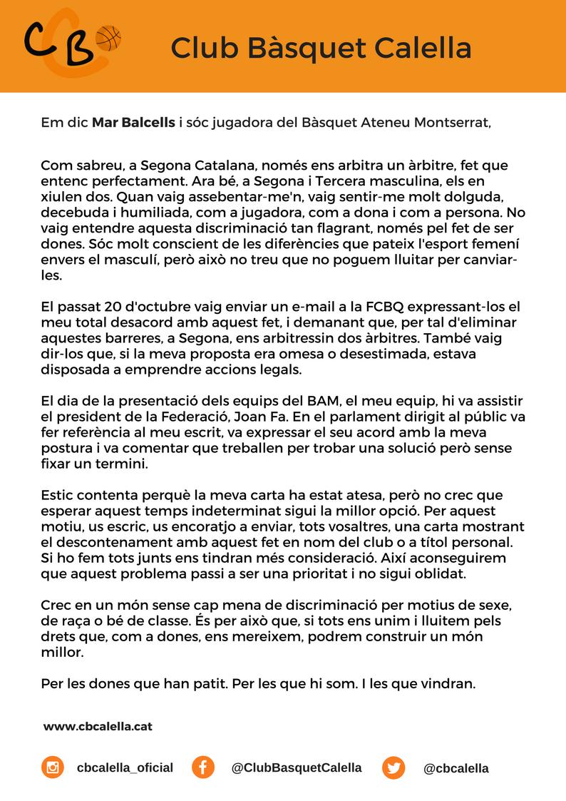 La carta de la jugadora del BAM, Mar Balcells. Imatge: CB Calella