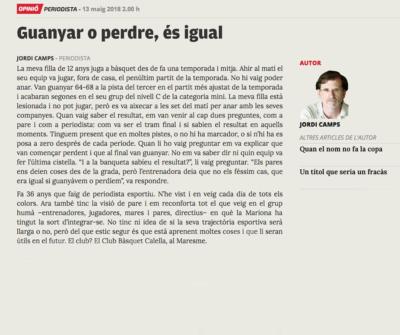 """L'article de Jordi Camps. Font: """"L'Esportiu"""""""