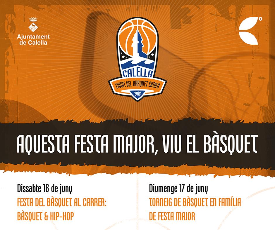 Cartell amb l'anunci del 3x3 i del torneig de bàsquet familiar. Font: Ajuntament de Calella