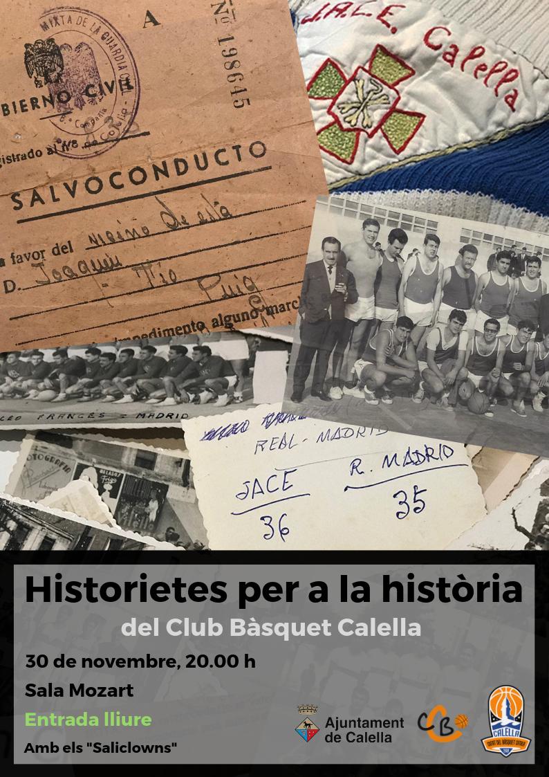 """Cartell de presentació de les """"Historietes de la història del Club Bàsquet Calella"""""""