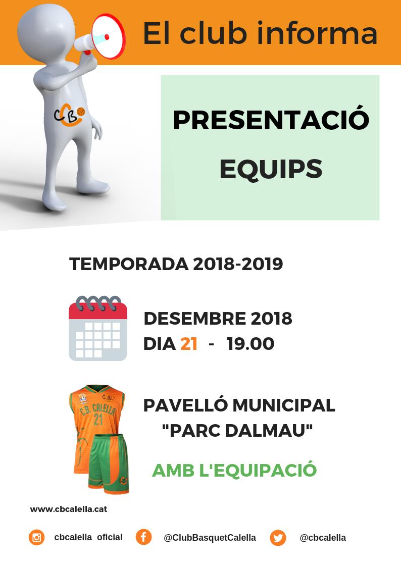 El club informa, presentació equips