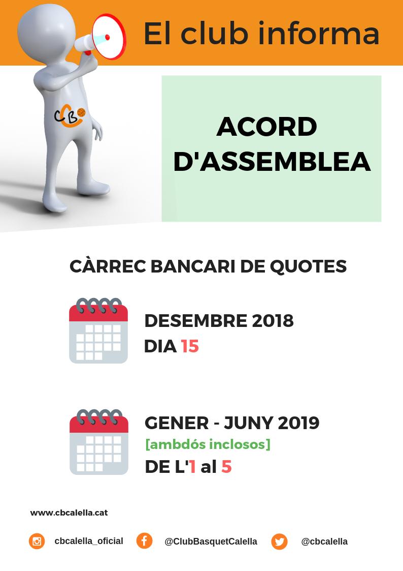 """""""El club informa"""", càrrec bancari de quotes"""