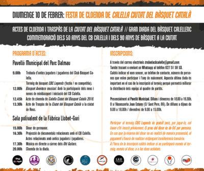 """CB Calella - Cartell de cloenda de la """"Ciutat del Bàsquet Català"""". Disseny: Sergi Cugat"""