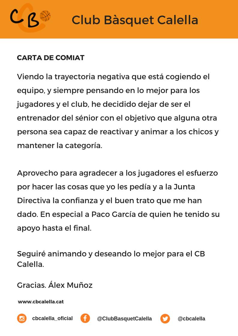 CB Calella - Carta de comiat d'Álex Muñoz