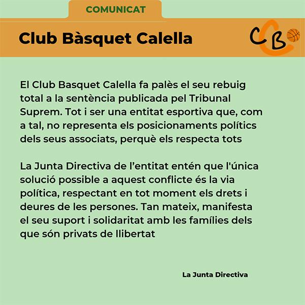CB Calella - Comunicat sentència