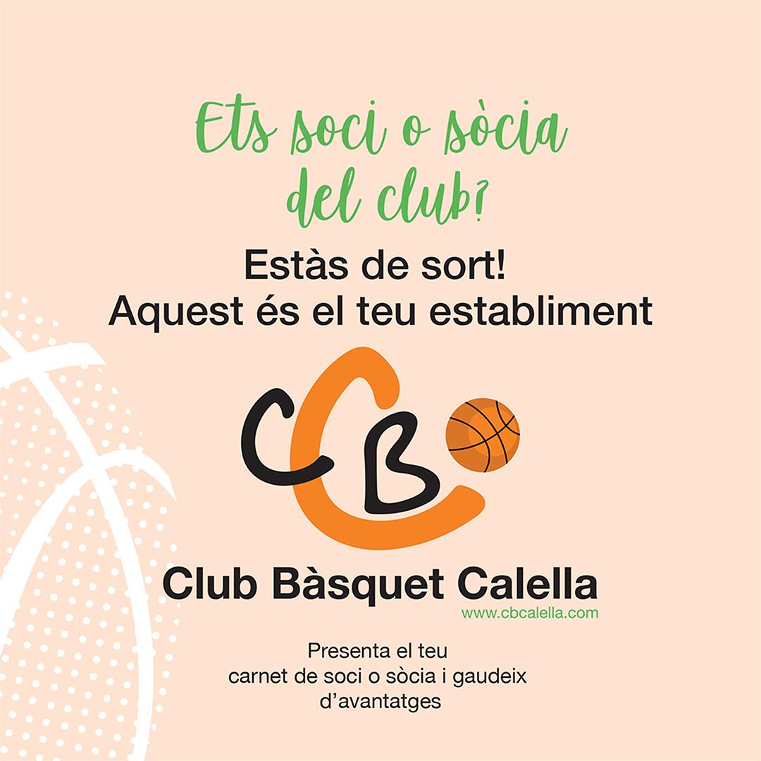 CB Calella - Els establiments adherits a la campanya de soci col·laborador del CB Calella lluiran aquest adhesiu a l'entrada