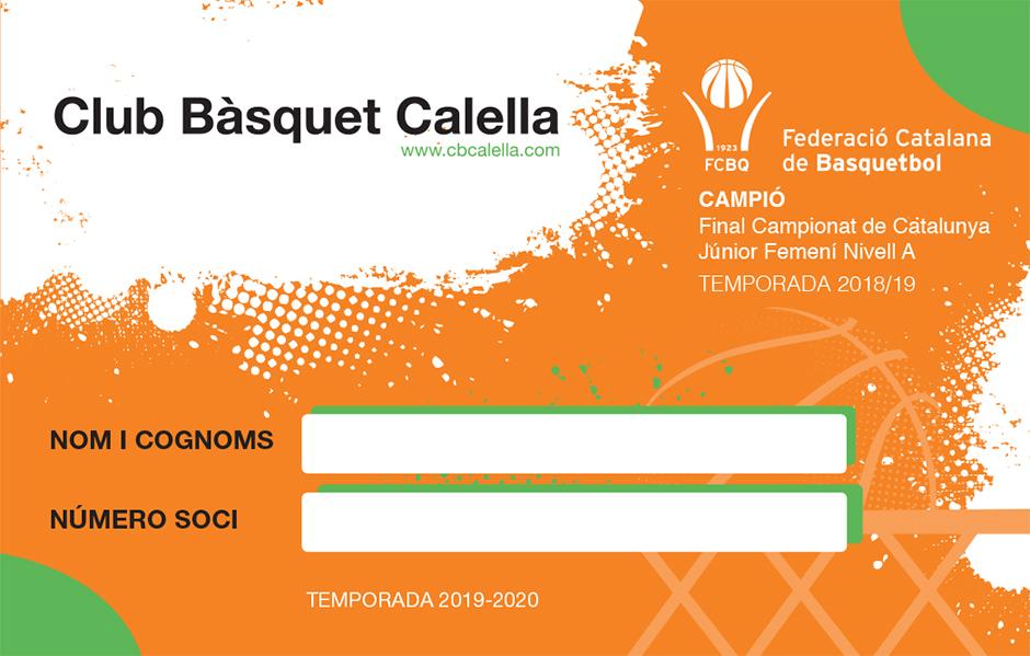 CB Calella - Part posterior del carnet de soci del Club Bàsquet Calella