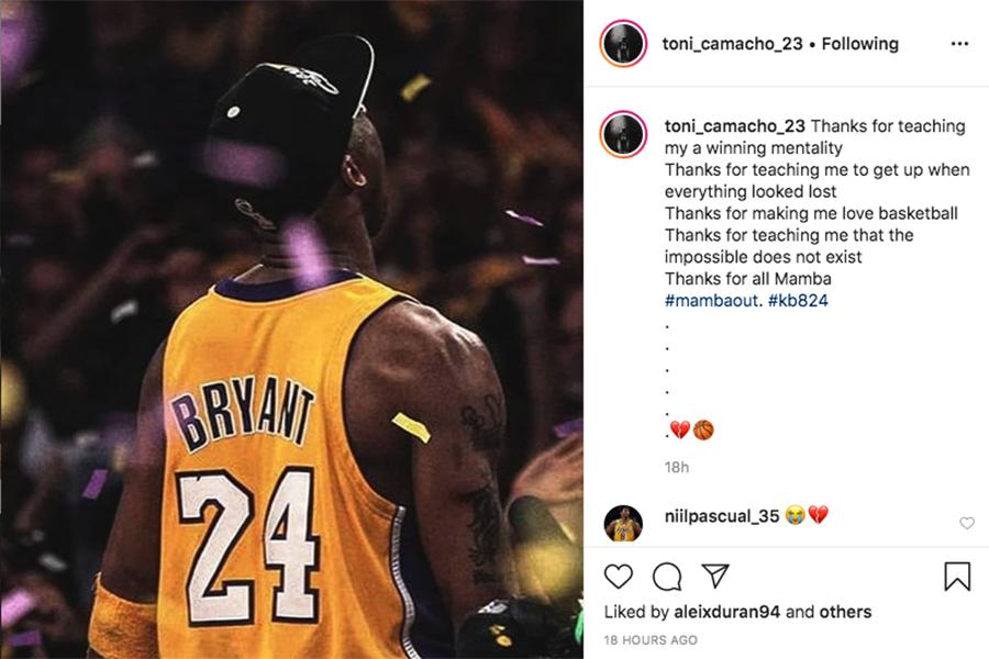 CB Calella - Kobe Bryant a l'Instagram d'alguns jugadors del club