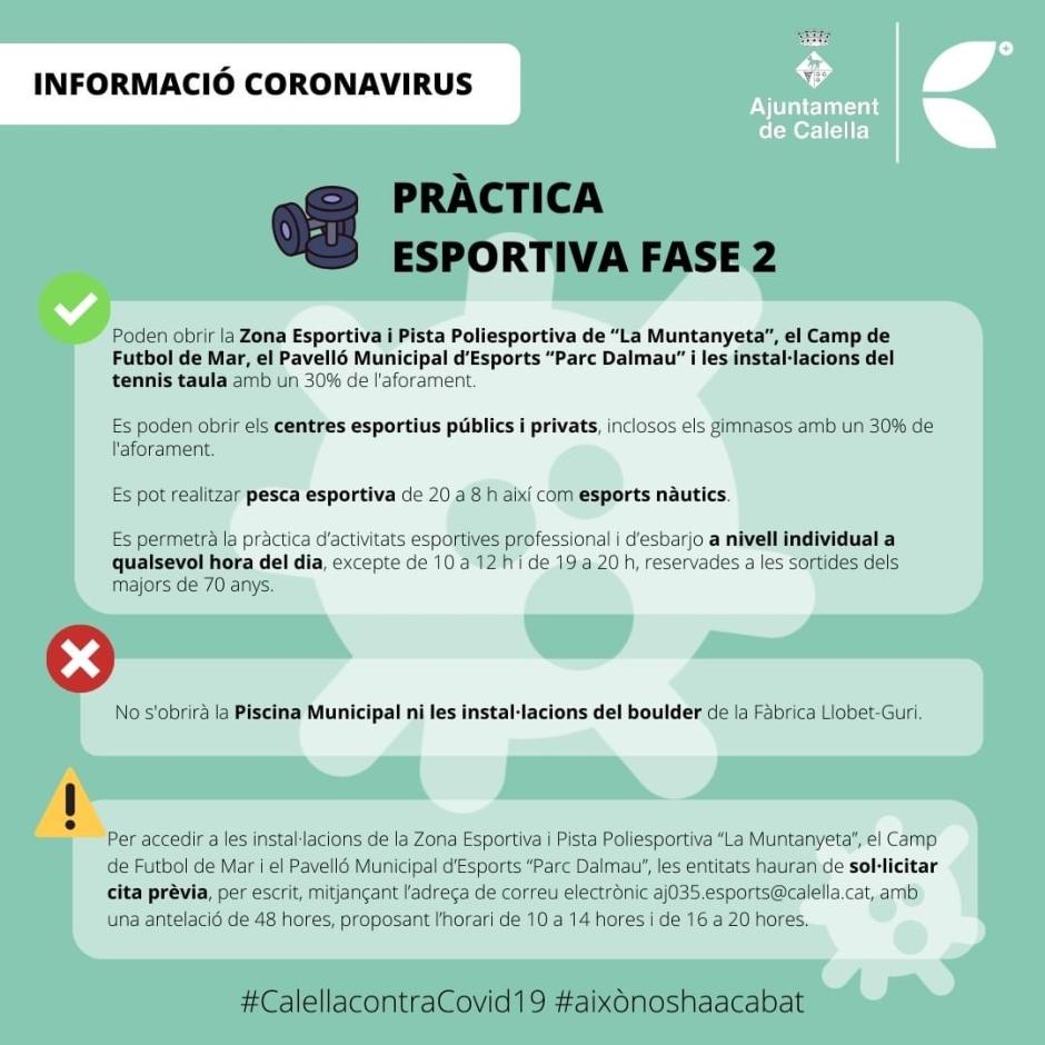 CB Calella - Pràctica esportia a la fase 2. Infografia: Ajuntament de Calella
