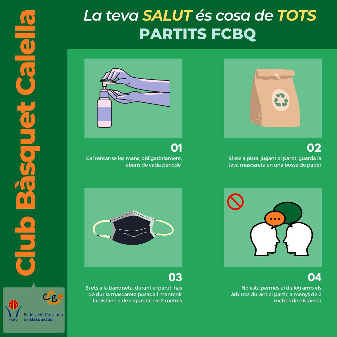 CB Calella - Protocol de la FCBQ que cal seguir durant els partits. Font: CB Calella